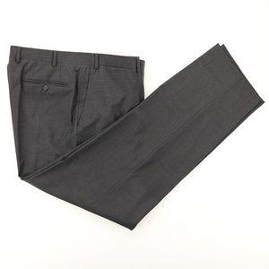 Canali 1934 Wool Flat Front Dress Pants Gray Check